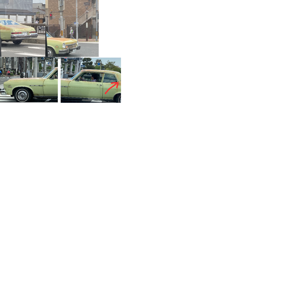 この車の車種わかりますか? 後部座席側(赤矢印)にNの文字が見えるような気がしてシボレーノヴァじゃないかと思ったんですが、ホイルがどうやらポンティアックのエンブレムに見えます