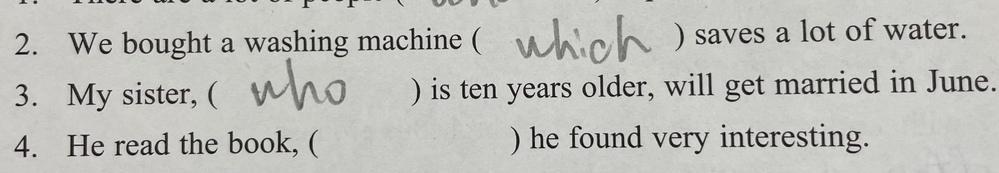 3番の問題です。 これ、なんで非限定用法なんですか? 6月に結婚する10歳年上の姉が2人以上いるってことになりませんか?