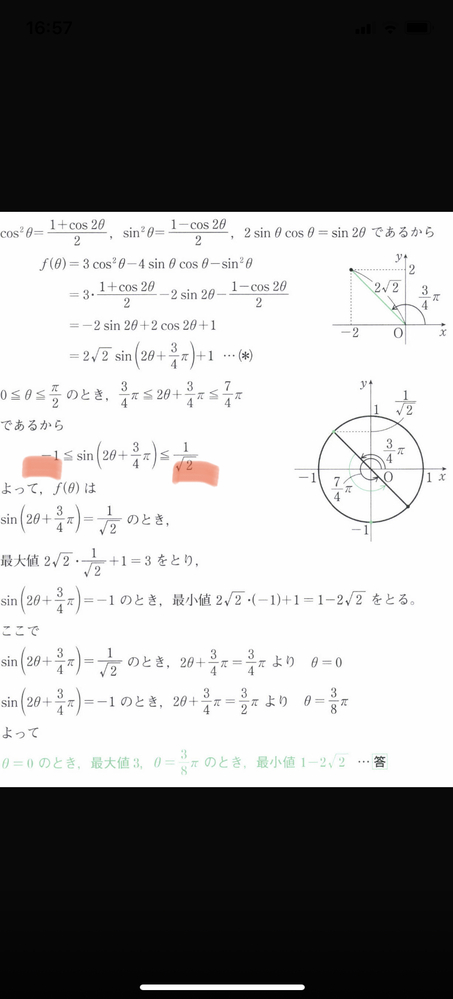 0≦θ≦π/2のとき関数f(θ)=3cos²θ−4sinθcosθ-sin²θの最大値最小値をもとめよ。また、そのときのθの値を求めよ。 という問題の解説でなぜ下線部のようになるのか分かりません。なぜ3/4πは−1になり、7/4πは1/√2になるのでしょうか。教えてください<(_ _)>