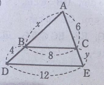 次の図において、DE//BCのとき、x、yの値を求めなさい。 という問題が分かりません。教えてください!