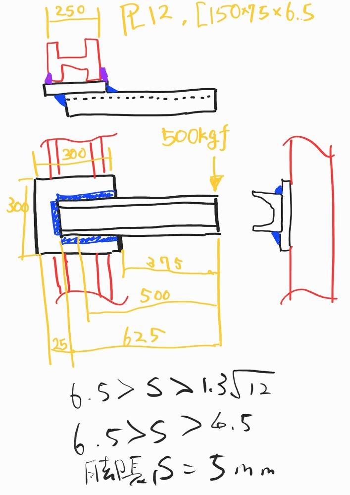 すみ肉溶接の強度計算について。 下図の様に溝形鋼を板にすみ肉溶接したものに曲げモーメントが作用するとします。 この場合次の2点について評価が必要とおもいますが、どのように計算すればよいのでしょ...