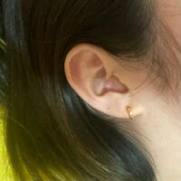 小さなリングのピアスを付けたのですが、穴の位置が高めなのかリングが小さいのか耳たぶとリングの隙間がほとんどありません。 よく見るのは隙間があるように付けている方が多いなって思うのですが、私の変ですか??あんまり‥って感じなら小さいダイヤのやつにしようかな〜って思ったりもしています