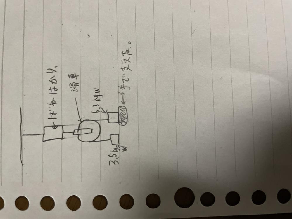 至急です!物理の問題です。 バネはかりによってぶら下げられ6.3kgwの方を手で支えた時、手に加わる力は何kgwか? また、バネばかりは何kgwを示すか?という問題です。 分かる方教えてください!