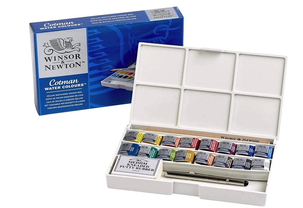 """水彩画材について。 ウィンザー&ニュートンの固形水彩をお使いの方にお聞きしたいです。 """"ウィンザー&ニュートン 水彩絵具 ウィンザー&ニュートン コットマン ウォーターカラー 16色セット"""" 上記の商品のパレッドした部分に空きスペースがありますがハーフパンを追加することはできますでしょうか? ※ほしいが偏っている為、24色セットは検討しておりません。"""
