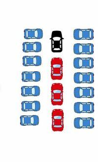 黒い車が自車です。 スーパーの駐車場で奥が空いてるかなと思いつつ奥まで入ってみたら、全て満車でした。  奥は壁になっており、両サイドの空間も狭く切り返しは無理です。  後ろから続々と車が並んできて、後続車がイライラして何度もクラクションを鳴らしてきました。  左右の車も駐車場から出たいのに出られずイライラしている感じで睨んできています。  僕は人の多い場所では極度に緊張してしまい、いつも通り...