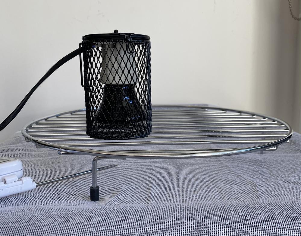 赤外線ランプ 25w を使用しています。 写真のような置き方をして、電球から白い布までの距離は5センチ、布の辺の表面温度は48度(1時間経過時点で)このまま、長時間置いて置いても、火災の危険はあ...