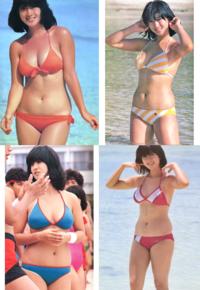 昭和のアイドル河合奈保子さん、当時としては珍しく巨乳で、しかも三角ビキニを来て胸元をアピールされてますよね。 アイドルに清楚さが求められていた時代、しかも80年代後半はワンピース水着が多い中、ビキニで水泳大会に出るのは勇気のいることだったのではと思いますが、当時のファンはどう思ってたのでしょうか?