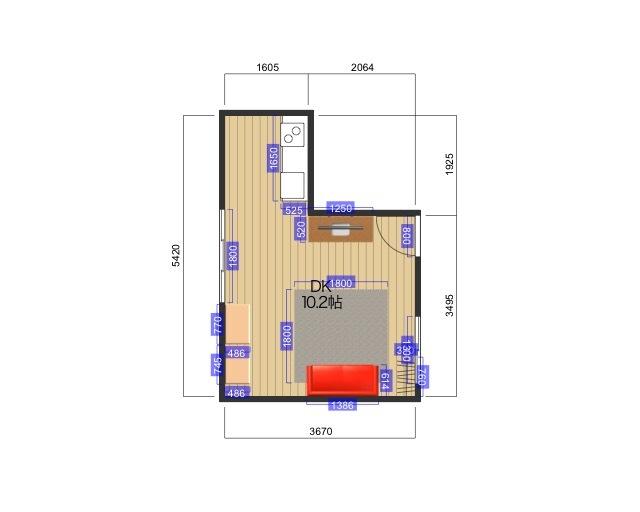 LDKにダイニングスペースを作りたいのですが、配置に悩んでいます。 画像のような間取りに住んでいるのですが、テーブルと椅子を置いてダイニングスペースを作りたいです。 賃貸、一人暮らしです。 記載のない部屋の様子としては ・左側扉は寝室 ・右下の扉は玄関 ・右上の扉はトイレ浴室 といった形になります。 部屋や家具の大きさはおおよそのものです 家具の配置をどのようにしたら良いか、アドバイスをいただけると助かります。 既存の家具の移動や処分も考えています。 よろしくお願いいたします。
