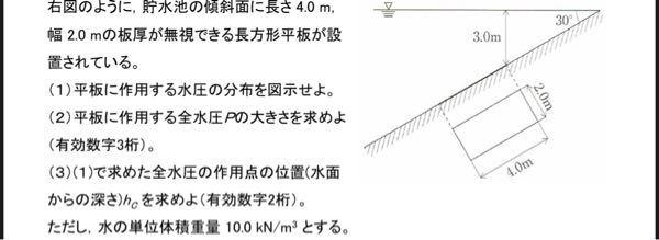 水理学の問題なんですが(1)〜(3)まで、全部わかりません。わかる方いたら教えて欲しいです