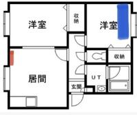扇風機の配置について教えてください。 エアコンの風を寝室まで届けるために扇風機を使おうと思うんですが、どこにどの向きで置くのが一番良いのか教えてください。  赤=エアコン 青=ベッド