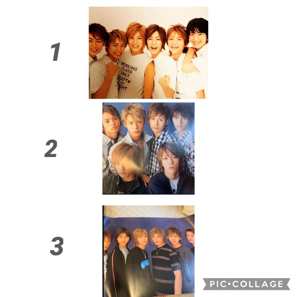 KAT-TUNのコンサートグッズについて質問です。 現在ジャニーズJr.時代のKAT-TUNコンサートグッズ(主にポスター)を集めているのですが、2002年代のものが数点あるため、どのポスターが何のコンサートのものか知りたいと思い質問しました。 画像にある1.2.3のポスターのコンサート名、開催時期が早い順番を知りたいです。 また、2002年〜2005年デビュー前までのコンサートで亀梨和也さん単独のポスターがある年も教えていただけると嬉しいです。 2002年の単独のものは調べても全く出てこないため、ポスターは販売していなかったのでしょうか…?