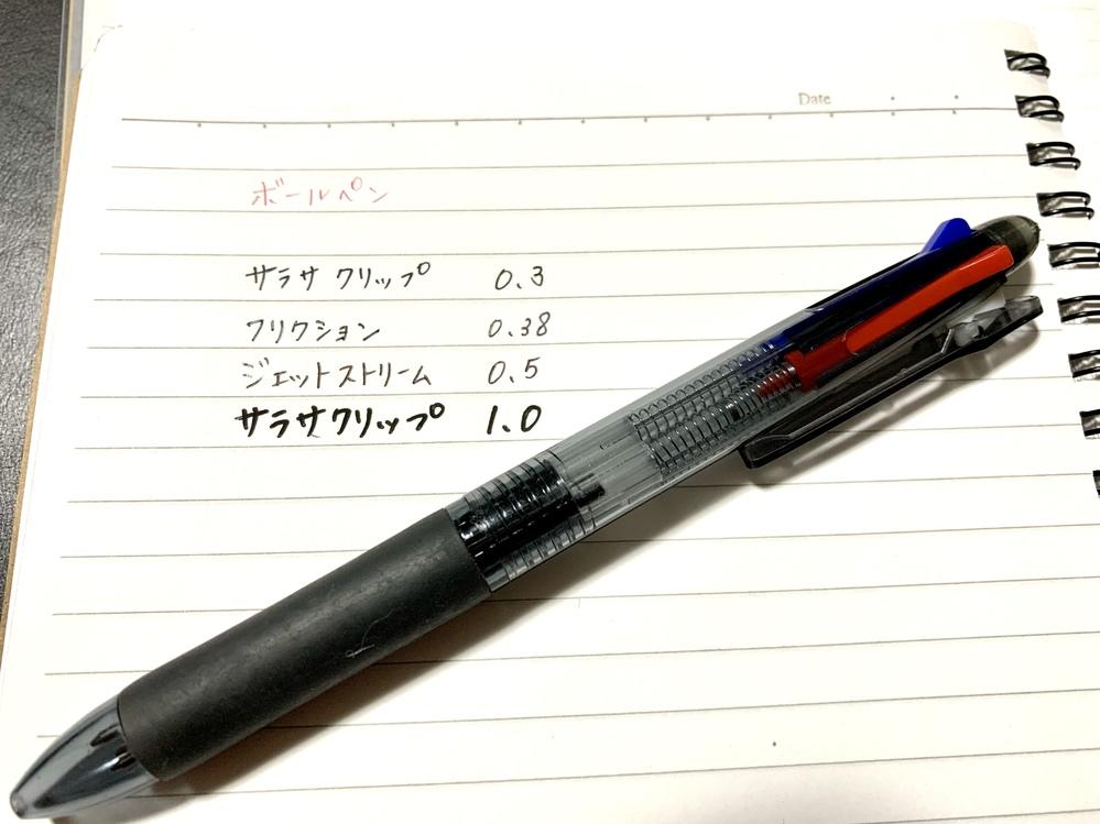 ボールペンの種類を探してます。 添付しました写真にあるボールペンを探しています。 気に入って使っていたのですが、メーカー名や型番などどこにも書いてなく、太さや種類もよくわからないため教えてくだ...