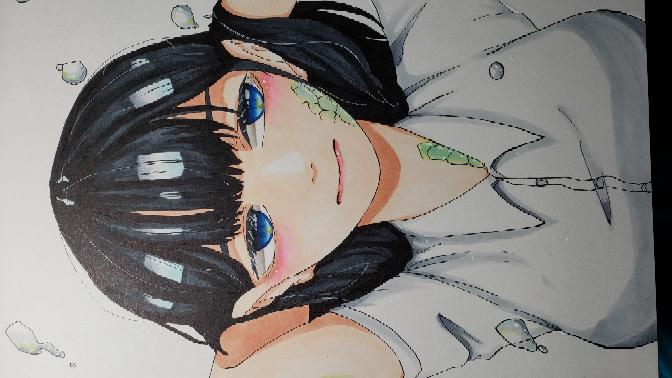 すみません、絵の評価をお願いします! いま中学三年生です! 線画は上手くいったのですが、色塗り画あまり...。 どうしたらアナログでも色塗りが上手くなりますかね? ちなみに使用している画材はコ...