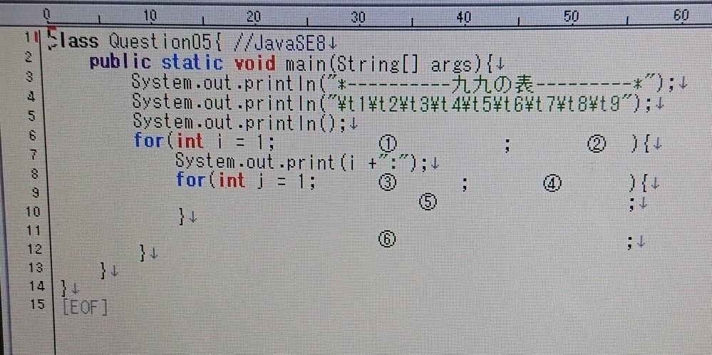javaで九九プログラムの誰が教えて下さいm(__)m