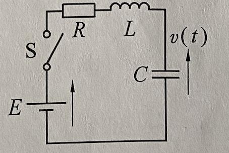 図のようなRLC回路でt=0でSを閉じた. L=(2/9)CR^2の関係があるとき,v(t)を求めよ(t>0) 二階微分を行いましたが,積分定数A1,A2が出せません 教えてください.