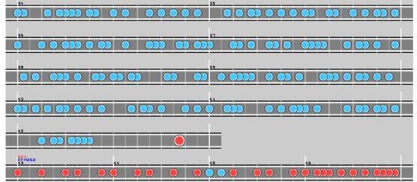 太鼓さん大次郎でお願いがあります。 ≠MMの34〜43小説の部分だけを切り取って、hs0.5ではなく1.0(つまり見た目bpm220)にして譜面化していただけませんか?34〜43小説は写真の部分です。スマホの太鼓さん大次郎2で練習したいと考えています。お願い致します!