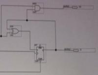 論理回路の8ビットカウンタについて質問です。 写真は1ビットカウンタで、これを8つ繋げた8ビットカウンタについて動作原理を論理式を用いて教えてください。 Dフリップフロップを用いています。