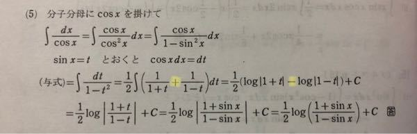 写真の黄色で塗ったところはなぜ+から-になるのですか? 私は+だと思ったので計算したら 1/2log(1-sin²x)となりました 積分 不定積分 数3 数Ⅲ