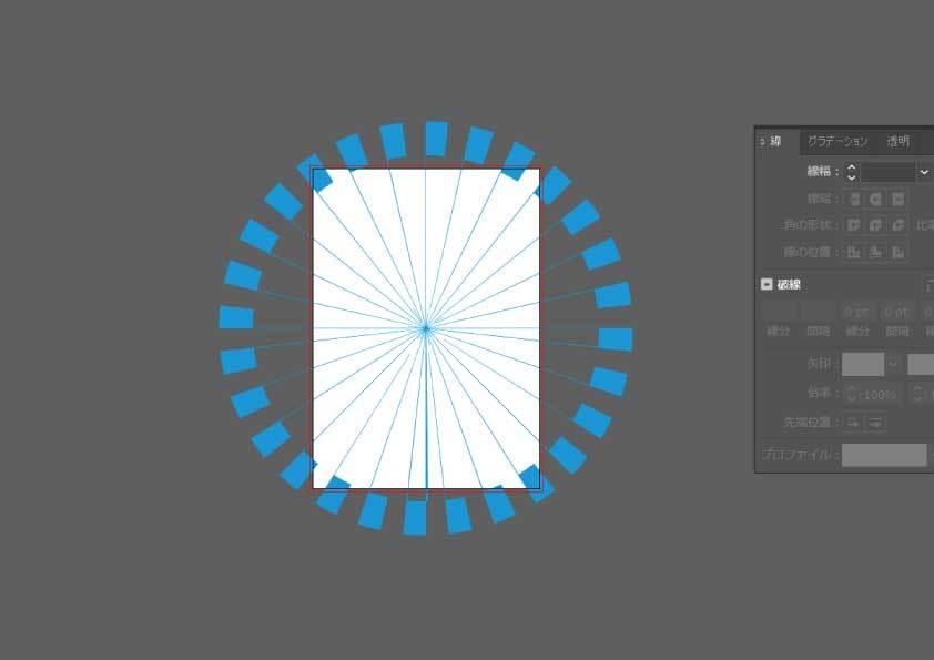 イラストレーターで、点線で作った放射線にアウトラインをかけると図のようになってしまうのはなぜでしょうか。