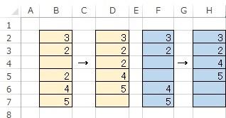 行を詰める関数をお願いします たとえB列だろうがF列だろうが D列、H列のように行を詰めたいのです D4、H4の関数を教えてください