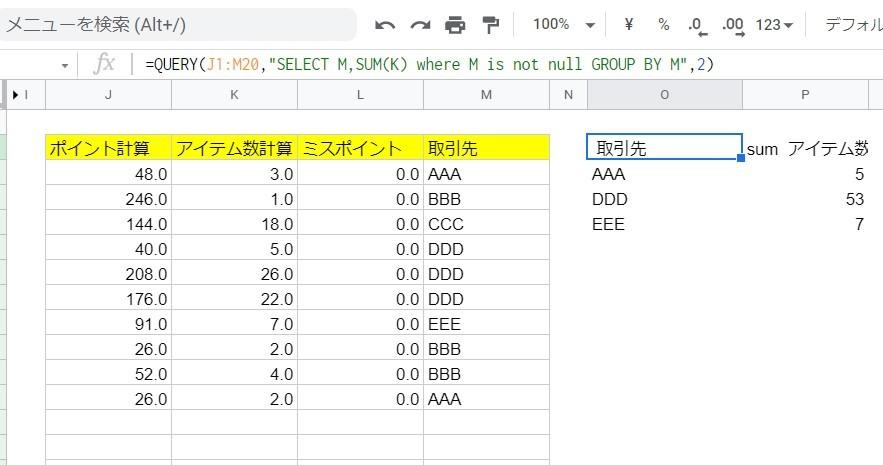 """Googleスプレットシートのquery関数についてです。 関数としては間違えていないと思っているんですが、何故か正しく修正されません。 これはスプレットシートの不具合でしょうか? =QUERY(J1:M20,""""SELECT M,SUM(K) where M is not null GROUP BY M"""",2)"""