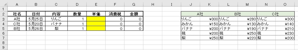 Excelの関数に詳しい方、教えていただけますと幸いです。 画像右側にあるような形式の価格一覧表があるとして、 画像左側の黄色塗り部分に、社名と内容から単価を抽出するような関数は組むことはできますでしょうか?? VBAなどマクロは使わずに関数でお願いしたいです。 宜しくお願い致します。