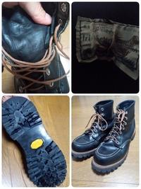 レッドウィングのブーツに関する質問です。 18年前に日本で購入したレッドウィングブーツですが、箱を捨ててしまい品番が分からなくなってしまいました。 どのような靴なのか改めて知りたくなり、ご存知の方がいらっしゃればお教え頂きたく思います。 画像が自分の靴です。 タグは右足のタンの裏側に付いています。 四角いタグで、刺繍ではなくプリントされています。 Irish Setter Sport Boo...