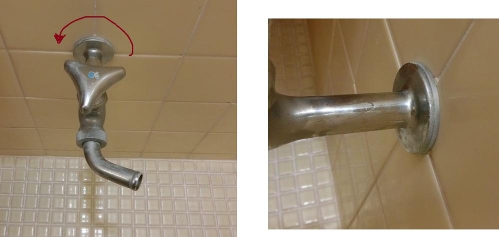 風呂場の水道を撤去したいです。 掲載写真の物ですが、これは正面から手で掴んで、画像の矢印のように反時計回りに回せば外せるでしょうか? それとも溶接や、金属用接着剤などを使っている可能性が高いでしょうか? 溶接や金属用接着剤を使ってると、力任せに回すと、奥の配管が壊れてしまうことを心配しています。 掲載写真はクリックで拡大されますので是非ごらんください。