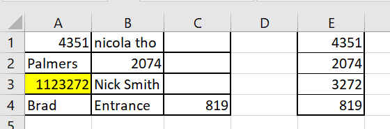 エクセルに関する質問です。以下の表から会員番号のみを抽出したいのです。 添付ファイルをご参照頂けるとお分かりになりますが、会員番号は通常4桁「以下」の番号で、この表ですと、順番に、4351、2074、3272、819になります。この表の3行目の数字は特殊なケースで1123272ですが、下四桁がこの人の会員番号になります。会員番号が書かれている列が定まっておらず、抽出しづらく現在手動で会員番号を打ち込んでいて時間が掛かりすぎているので、どなたかご教示いただけると嬉しいです。