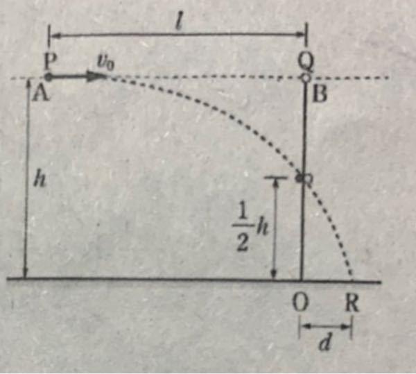 高校物理の「水平投射と自由落下の衝突」の問題です。 解説をお願いします。 基本も完璧に理解できていません。よろしくお願いいたします。 図のように水平な床からの高さがh[m]でl[m]だけ離れた2点P,Qに、質量がともにm[kg]の2個の小球A,Bが保持されている。小球AをBに向けて水平に投げると同時にBを自由落下させると、2球は床から1/2h[m]の高さで完全非弾性衝突し、一体となって床の点Rに落下した。重力加速度の大きさをg[m/s^2]として以下の問いに答えなさい。 (1) 小球Aの初速度の大きさv0[m/s]を求めよ。 (2)衝突直後の速さの水平成分vx[m/s]と鉛直成分vy[m/s]を求めよ。 (3)衝突してから床に当たるまでの時間td[s]を求めよ。 (4)点Qの真下にある床の点0からRまでの距離d[m]を求めよ。 以上です。 よろしくお願いいたします。