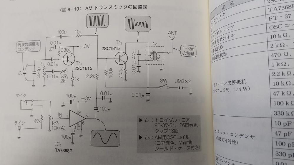 本に載っていた回路を見ながら、 amのトランスミッターを作成したいと考えています。 無線は勉強し始めたばかりで、 アンプ付きのゲルマニウムラジオを作成した程度です。 書籍に添付ファイルのような回路が載っていたのですが、左下のラインとは何でしょうか? ここにRCAジャックを取り付けることになっているのですが、何を繋ぐのでしょうか? ご教示頂けたら幸いです。