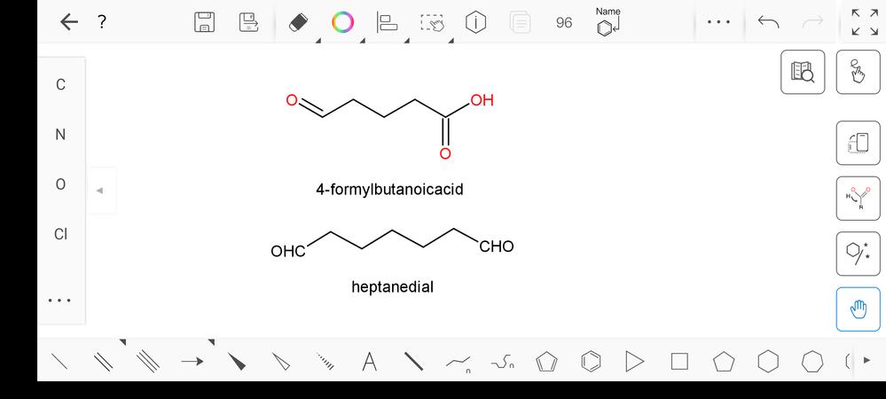 IUPAC命名法についてです。上の化合物は主鎖の炭素数に-CHO基のCを含めていないのに対して、下の化合物は含めています。 なぜこういった違いが出てくるのか教えて下さい。