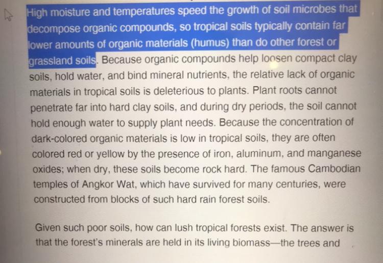 than do other forest or grassland soils. とありますが、具体的に何がどうしてるのでしょうか? tropical soil と other forestの対比かと思ったのですが、そうなると do other forestではなく、other forest do の語順ではないのでしょうか。。 構造と意味について教えてください。