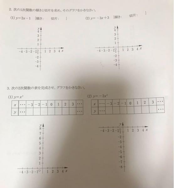 この4問の答え教えてください。 グラフの書き方もわかる人、お願いします(>人<;)