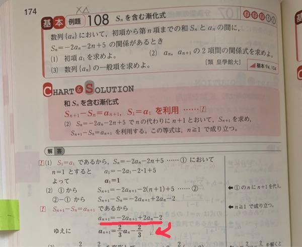 数B、漸化式。 (2)の問題で、どうして赤ペンの式から下の式にいけるのでしょうか?