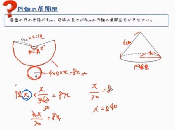 円錐についてです。 YouTubeで、円錐の展開図のやり方を見ていたのですが、 下の写真の青色の丸が書かれてるπがどこから来たのかが分かりません。 教えてください。