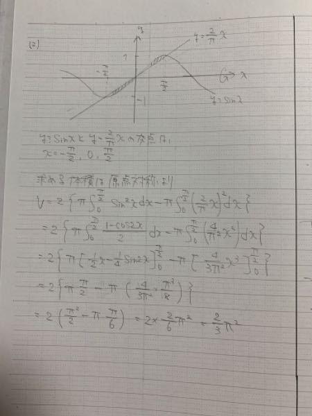 この答えがπ²/6になるのですが何回解きなおしてもこの答えになってしまいます。 どこが間違えているのか教えて欲しいです
