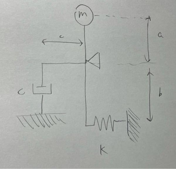 機械力学の振動工学の問題が分からないので教えてください。 図の力学系について、運動方程式、周期、臨界減衰係数を求めよ。レバー、バネ、ダンパの質量は無視する。