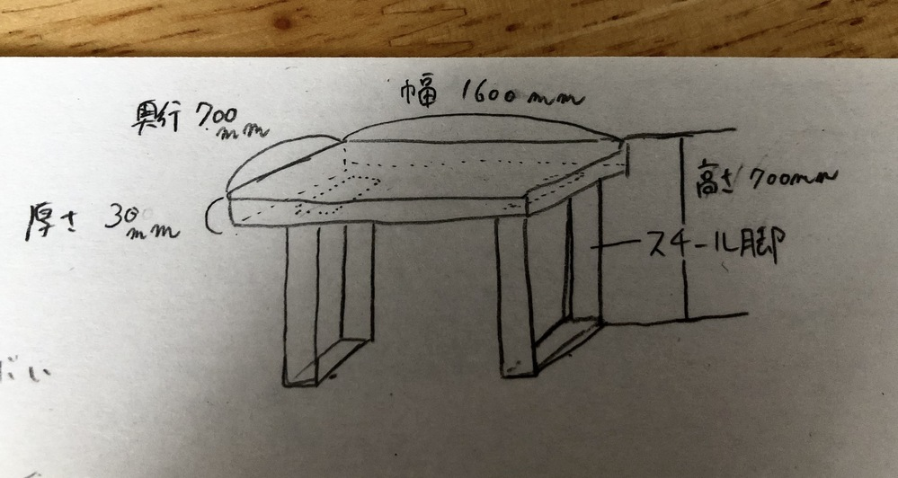 DIYで机を作れたらと考えていますが、家具作りに無知識であるため、相談に乗っていただけないでしょうか… 天板は厚さ3センチ、奥行70センチ、幅160センチ 足はスチールかアイアンのスクエア脚にしようと思っています。 天板はオンライン木材店でタモ材の集成材に裏へ反りどめ加工を頼んで購入し、 脚は楽天などで購入し組み合わせてできればと考えているのですが、 反り、垂れが起きてこないか、 また強度が心配です。 できれば左右への移動がしづらいためやりたくないのですが、脚を一本増やし真ん中に入れるべきでしょうか? 用途としてはデスクトップPCを常に置く、やや体重をかける、粘土をこねるというような作業をすると言った感じです。 ご教授いただければ嬉しいです、よろしくお願いします…!