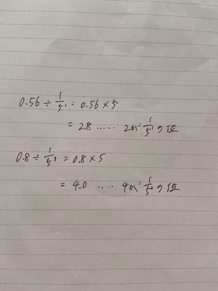 0.56を五進位取り記数法の問題で 0.8がどこから出てきたのか教えてください。 (式含めて)