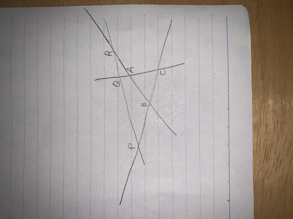 数学 メネラウスの定理で、画像のような三角形と直線の関係でも BP/PC × CQ/QA × AR/RB =1は成り立つのでしょうか。