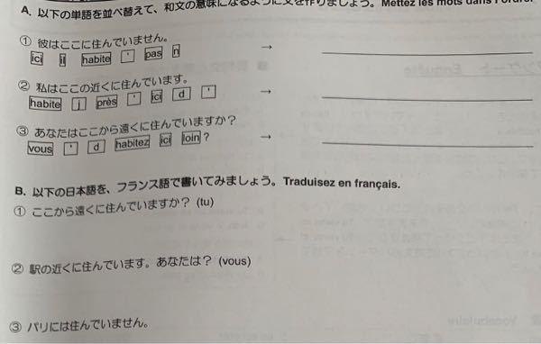 フランス語わかる方へ。 解答が無いため教えて頂きたいです( ; ; )