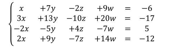 4元連立1次方程式の問題です。掃き出し法を使って求めたいのですが、答えが合わなくて困ってます。 途中式とかも教えていただけると助かります