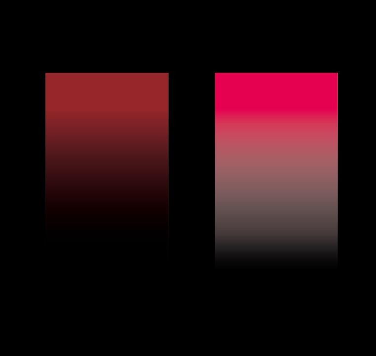 Illustratorでグラデーションに関しての質問ですが、 チラシ等で黒バックのものを作る際に添付画像のような 背景に徐々に溶け込むグラデーションをかけた見出し等を 作りたいのですが、画像右のように白っぽい感じに なってしまいます。左側のような自然に背景の黒に 溶け込むようにグラデーションを作成するには どうすれば良いでしょうか。 ご教授いただければ幸いです。