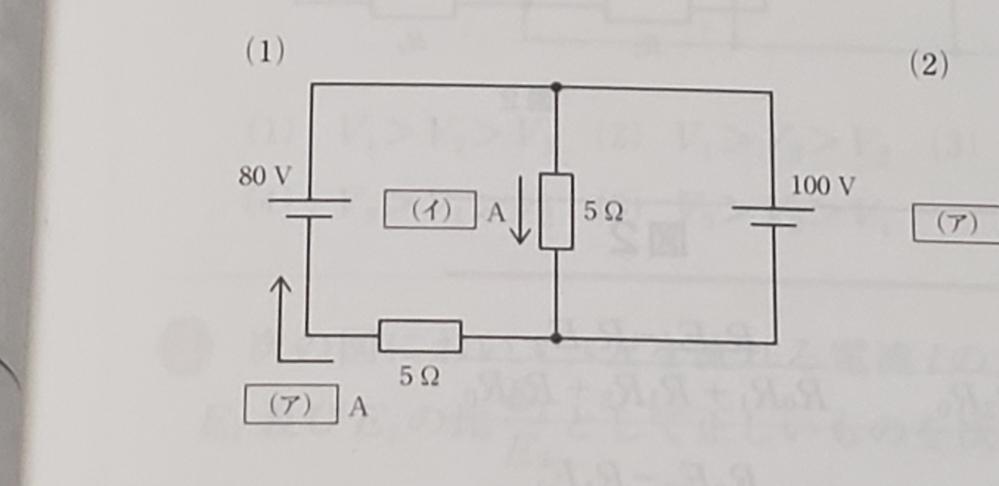 電気回路についての質問です。 重ね合わせの理を使って、(ア)と(イ)の求め方がわかりません。 どなたかご教授お願いします。