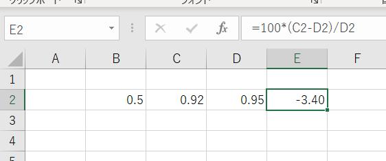 エクセルで誤差率の計算をする際にバグに遭遇して困っています。 特に設定をしていないのにE列が0.05刻みにされているうえに、表の値では-3.40ですが、実際の値は-3.15789...と大きく違っています。なお、値は3桁ぐらい表示桁を増やしても0が続くだけです。 考えられる原因として、 D列の値は式から出されている値でその式が10/(B2+10)、 値を丸めずに100をかけている ことが挙げられるのですが、どうしてよいのかわかりません。よろしくお願いします。