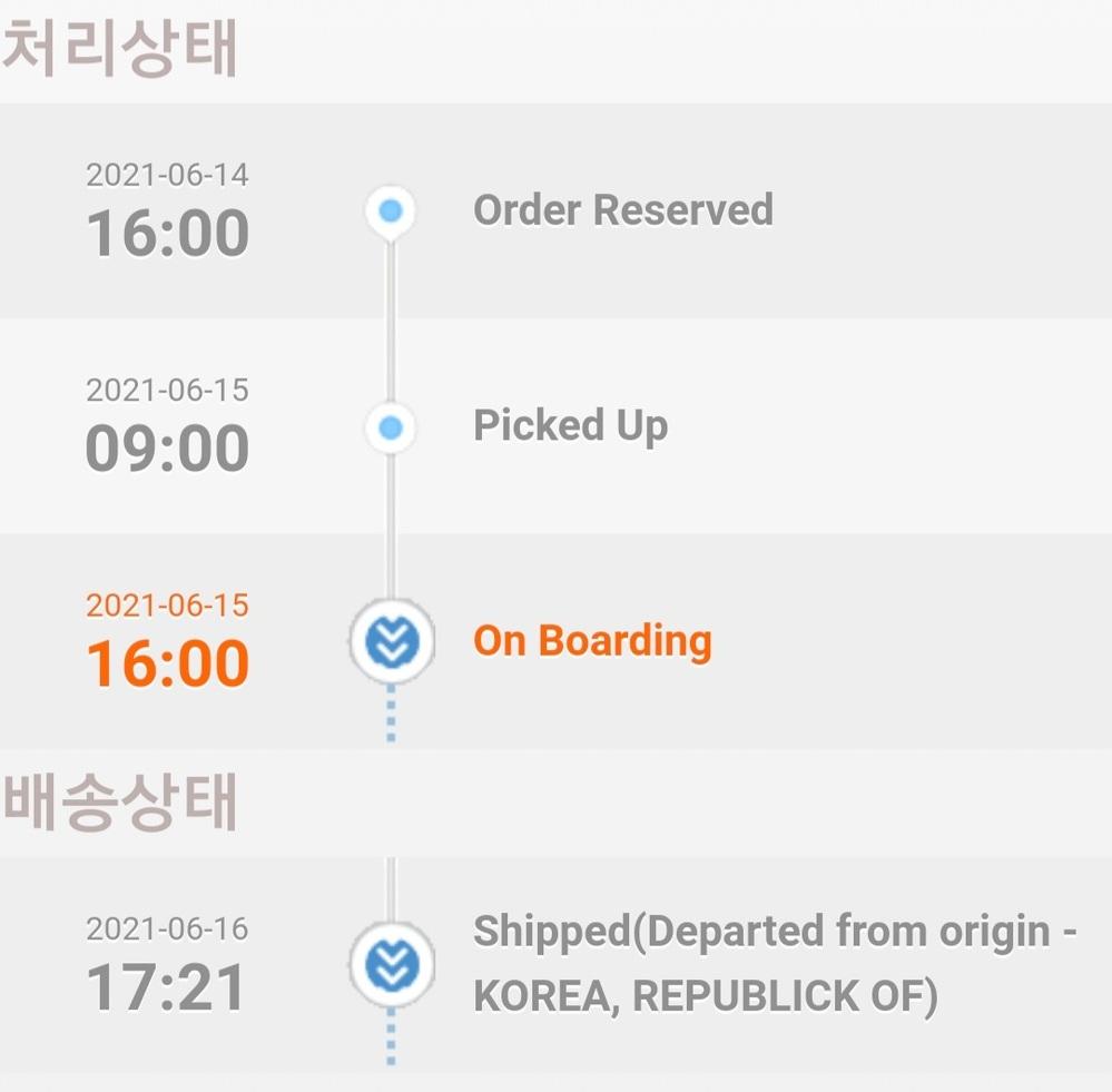 Qoo10でTWICEのアルバムを購入しました。 今配送状況が画像の通りなんですが 、これはどういう状況でしょうか? また、後どのくらいで届きますでしょうか。 韓国からの海外発送です。