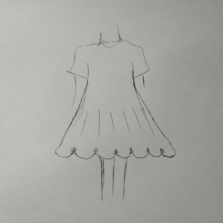 スカート、ワンピース、ドレスの画像のような裾って、名称はありますか? 実際にドールドレスとして作ってみたいのですが検索しようにも名前がわからなくて。 二次元だけのものでもないですよね?