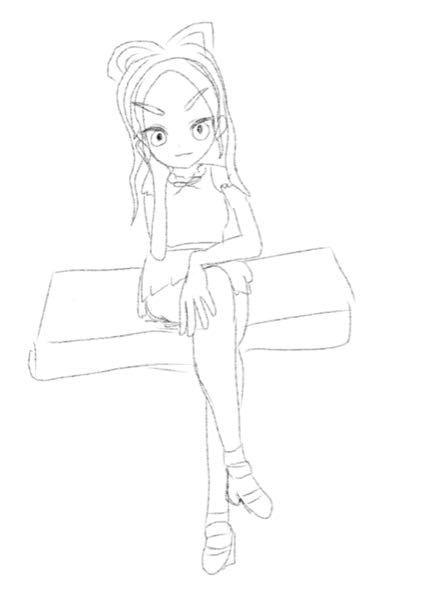 僕は最近アイビスペイントでiPhoneで絵を書き始めました。 そして、初めてしっかりとした絵を描こうと思ってるのですが、下の下書きのバランスとか、形とか、服とかはどう思いますか? とりあえず下書きなので、大体な感じで僕がかける最大限で色々考えました。 ポーズは何となく座ってるのが良かったので、3Dのアプリで自分で考えて作ったので、少し傾いていておかしいかもしれないです。 アドバイスやご指摘お願いします。 厳しくお願いします。 回答お願いします。