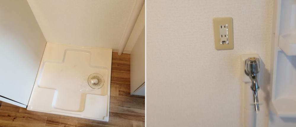 洗濯機購入についての質問です。 この場所また洗濯パンで、 パンの右上にある給水口についてお伺いしたいです。 ・洗濯パン外寸…役64cm×64cm ・パン外側右端から右横の台(洗面台)までのスキマ…約17cm ・フローリングの床から蛇口の口まで…約109cm (蛇口は洗濯パン外の右側 壁を伝ってる白いのが水道管です) ① まだ決めてはいないのですが下記洗濯機あたりで考えています。 いずれも洗濯機をパンに乗せると蛇口高109cmの高さを超えそうなのですが、 蛇口が洗濯パンの後ろでなく右側にあるので 給水口が蛇口より高くなったとしてもいずれも ホースを曲げる等?で給水口に接続可能と考えていいのでしょうか? (幅はパンの64cmをなるべく超えないようにします) https://jp.sharp/sentaku/products/esh10e/spec/ https://jp.sharp/sentaku/products/ess7e/spec/ https://panasonic.jp/wash/products/na_fw80k8.html (他) ②コンセントも洗濯機の上面と結構近くなりそうです。 何か留意する事はあるでしょうか? ③ 他、自分での洗濯機購入が初めてなので、画像や商品で 何か気になる点ありましたら アドバイス頂けると助かります。